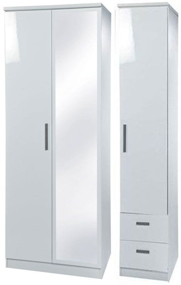 Knightsbridge White Triple Wardrobe with Mirror and 2 Drawer