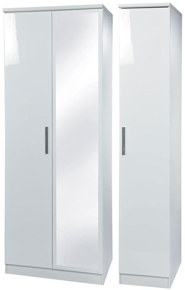 Knightsbridge White Triple Wardrobe with Mirror