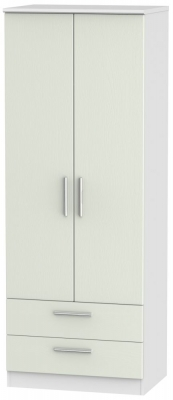 Knightsbridge 2 Door 2 Drawer Tall Wardrobe - Kaschmir Ash and White