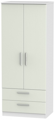 Knightsbridge 2 Door 2 Drawer Wardrobe - Kaschmir Ash and White