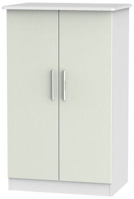 Knightsbridge 2 Door Midi Wardrobe - Kaschmir Ash and White
