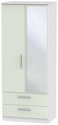 Knightsbridge 2 Door Mirror Combi Wardrobe - Kaschmir Ash and White