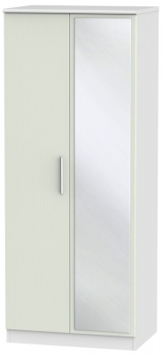 Knightsbridge 2 Door Mirror Wardrobe - Kaschmir Ash and White