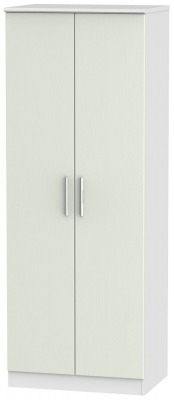 Knightsbridge 2 Door Tall Hanging Wardrobe - Kaschmir Ash and White