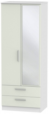 Knightsbridge 2 Door Tall Mirror Combi Wardrobe - Kaschmir Ash and White