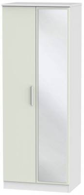 Knightsbridge 2 Door Tall Mirror Wardrobe - Kaschmir Ash and White