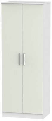 Knightsbridge 2 Door Tall Wardrobe - Kaschmir Ash and White