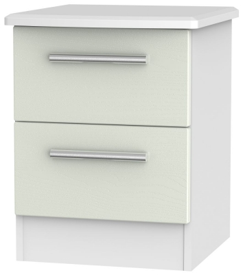 Knightsbridge 2 Drawer Bedside Cabinet - Kaschmir Ash and White