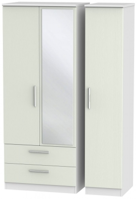 Knightsbridge 3 Door 2 Left Drawer Mirror Wardrobe - Kaschmir Ash and White