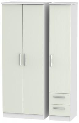 Knightsbridge 3 Door 2 Right Drawer Tall Wardrobe - Kaschmir Ash and White