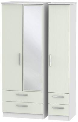 Knightsbridge 3 Door 4 Drawer Tall Combi Wardrobe - Kaschmir Ash and White