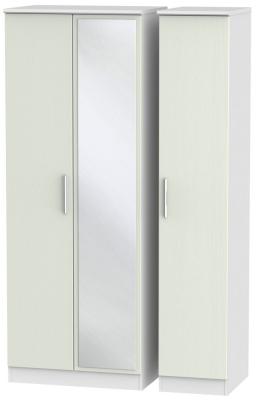 Knightsbridge 3 Door Tall Mirror Wardrobe - Kaschmir Ash and White