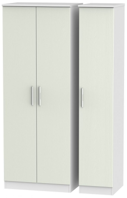 Knightsbridge 3 Door Tall Wardrobe - Kaschmir Ash and White