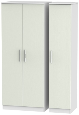 Knightsbridge 3 Door Wardrobe - Kaschmir Ash and White