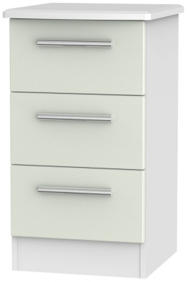 Knightsbridge 3 Drawer Bedside Cabinet - Kaschmir Ash and White