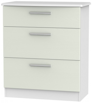 Knightsbridge 3 Drawer Deep Chest - Kaschmir Ash and White