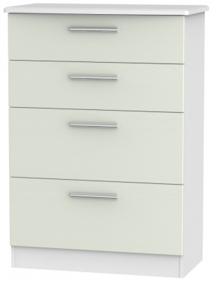 Knightsbridge 4 Drawer Deep Chest - Kaschmir Ash and White