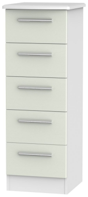 Knightsbridge 5 Drawer Tall Chest - Kaschmir Ash and White