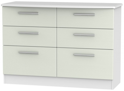Knightsbridge 6 Drawer Midi Chest - Kaschmir Ash and White