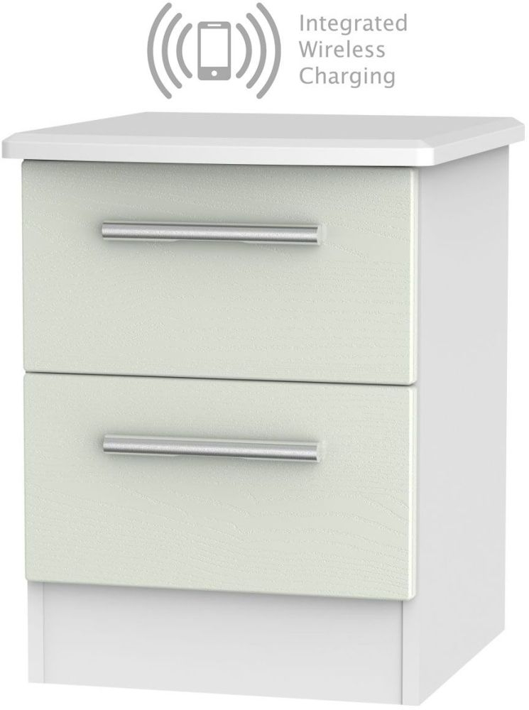Knightsbridge 2 Drawer Bedside Cabinet with Integrated Wireless Charging - Kaschmir Ash and White