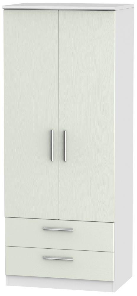 Knightsbridge 2 Door 2 Drawer Wardrobe - Kaschmir Ash and White