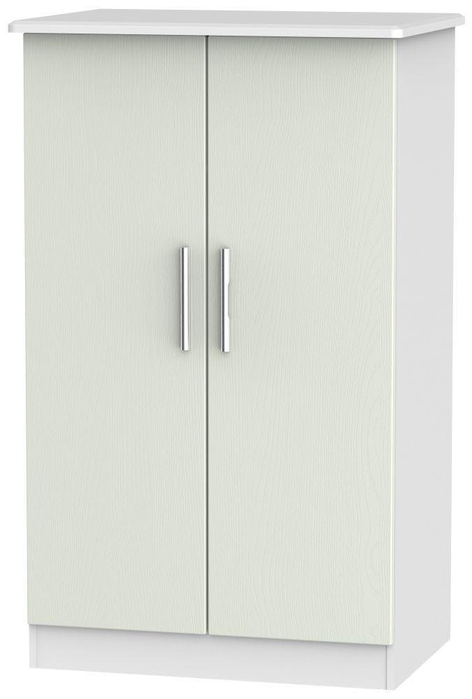 Knightsbridge 2 Door Midi Wardrobe - Kaschmir Ash and White