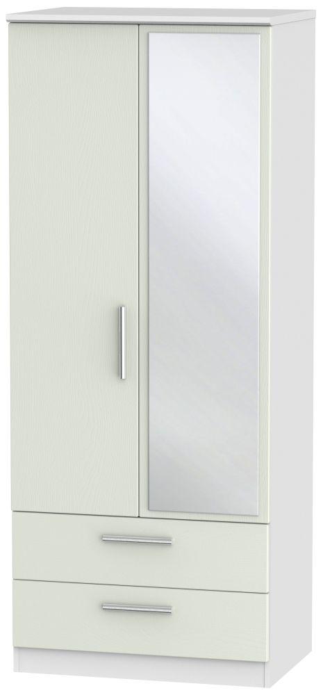 Knightsbridge 2 Door Mirror Combi Wardrobe - Kaschmir Ash and White