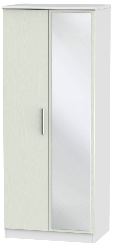 Knightsbridge 2 Door Mirror Wardrobe - Kaschmir Ash and White
