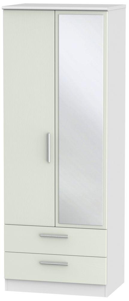 Knightsbridge 2 Door Tall Mirror Combi Wardrobe - Kaschmir Ash and White