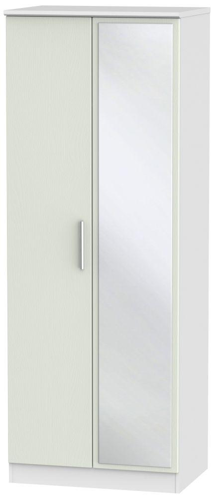 Knightsbridge 2 Door Tall Mirror Wardrobe - Kaschmir Ash and White