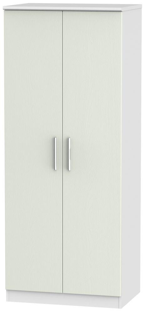 Knightsbridge 2 Door Wardrobe - Kaschmir Ash and White