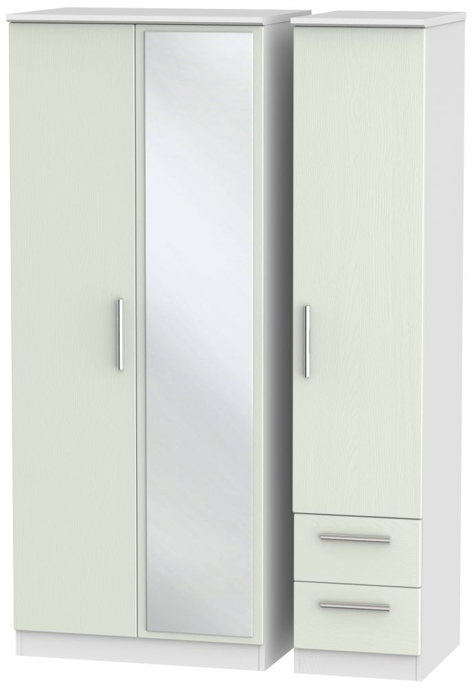 Knightsbridge 3 Door 2 Right Drawer Mirror Wardrobe - Kaschmir Ash and White