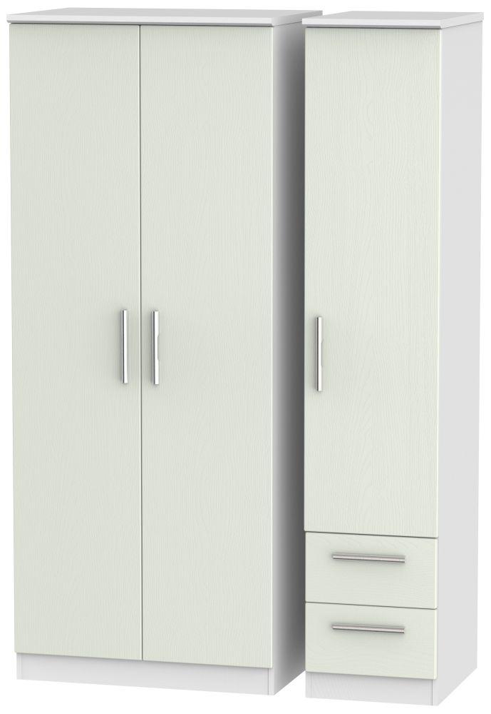 Knightsbridge 3 Door 2 Right Drawer Wardrobe - Kaschmir Ash and White