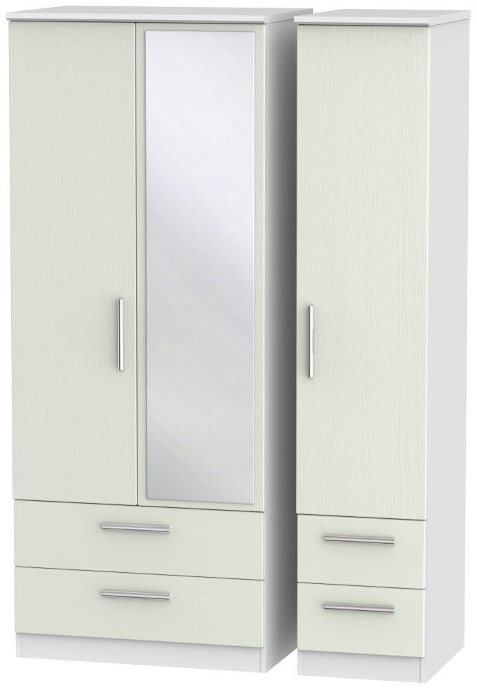 Knightsbridge 3 Door 4 Drawer Mirror Wardrobe - Kaschmir Ash and White