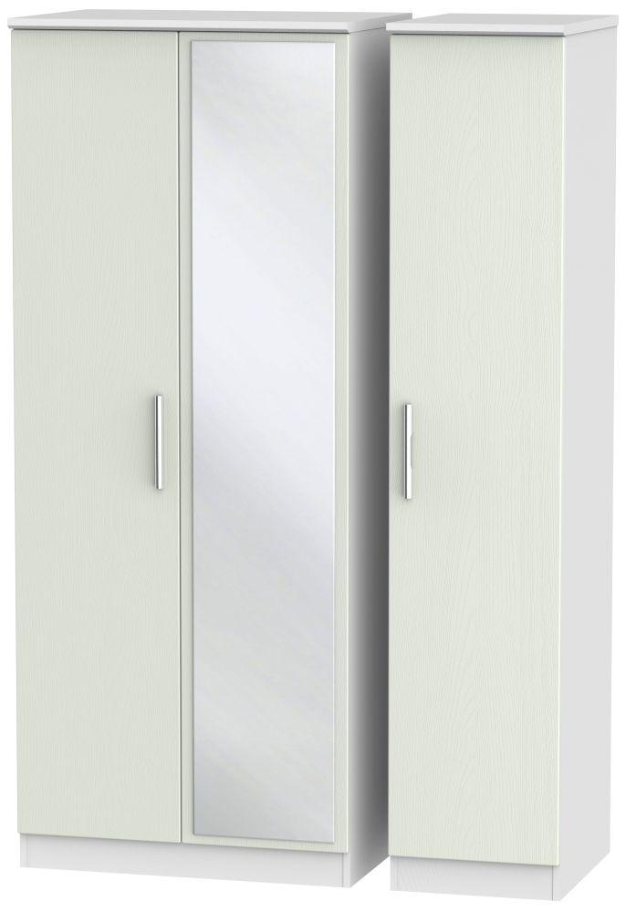 Knightsbridge 3 Door Mirror Wardrobe - Kaschmir Ash and White
