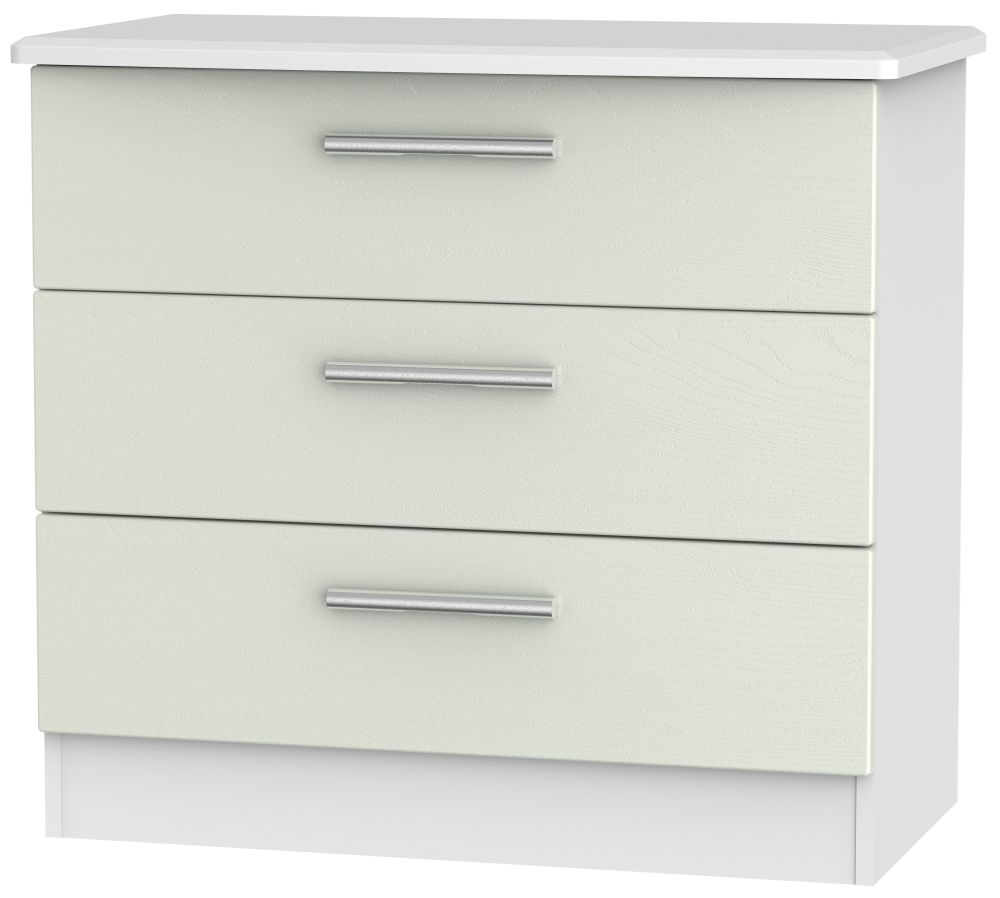 Knightsbridge 3 Drawer Chest - Kaschmir Ash and White