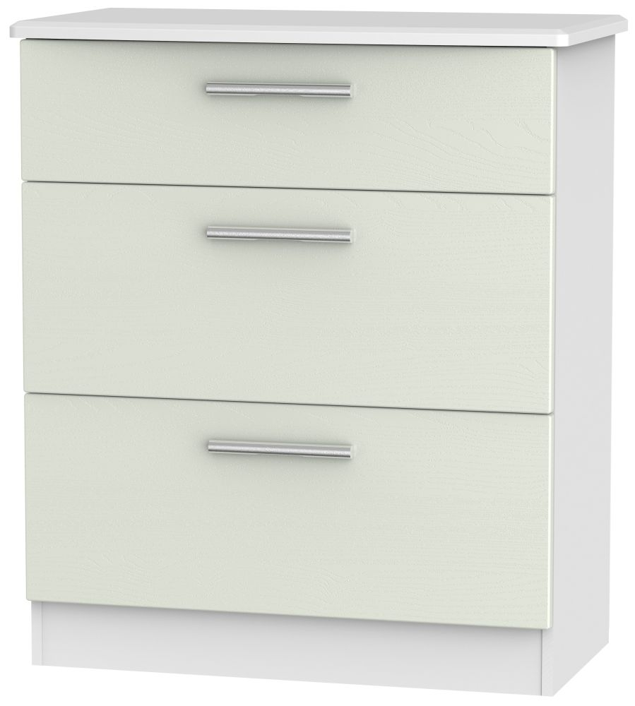 Product photograph showing Knightsbridge 3 Drawer Deep Chest - Kaschmir Ash And White