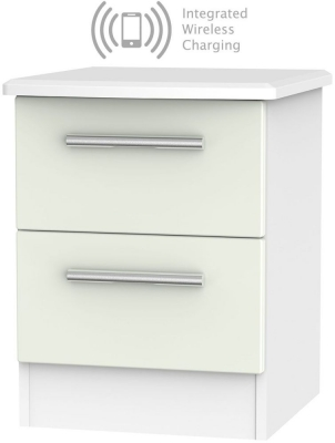 Knightsbridge 2 Drawer Bedside Cabinet with Integrated Wireless Charging - Kaschmir Matt and White