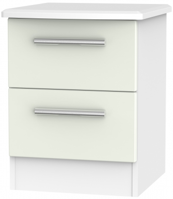 Knightsbridge 2 Drawer Bedside Cabinet - Kaschmir Matt and White