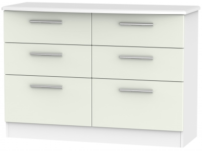 Knightsbridge 6 Drawer Midi Chest - Kaschmir Matt and White