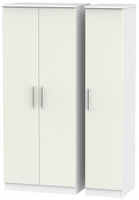 Knightsbridge 3 Door Wardrobe - Kaschmir Matt and White