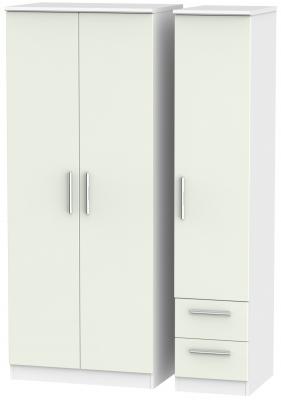 Knightsbridge 3 Door 2 Right Drawer Wardrobe - Kaschmir Matt and White