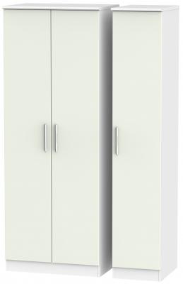 Knightsbridge 3 Door Tall Wardrobe - Kaschmir Matt and White