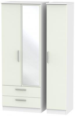 Knightsbridge 3 Door 2 Left Drawer Tall Combi Wardrobe - Kaschmir Matt and White