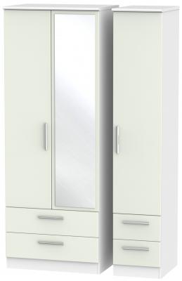 Knightsbridge 3 Door 4 Drawer Tall Combi Wardrobe - Kaschmir Matt and White