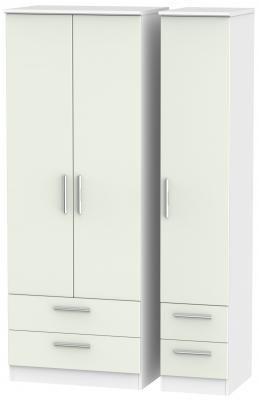 Knightsbridge 3 Door 4 Drawer Tall Wardrobe - Kaschmir Matt and White