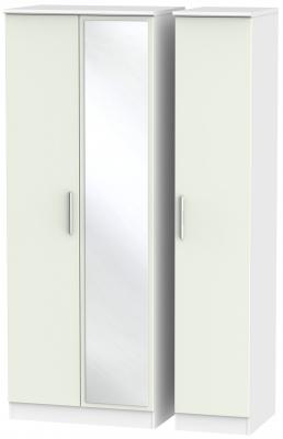 Knightsbridge 3 Door Tall Mirror Wardrobe - Kaschmir Matt and White