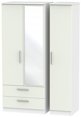 Knightsbridge 3 Door 2 Left Drawer Combi Wardrobe - Kaschmir Matt and White