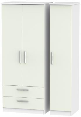 Knightsbridge 3 Door 2 Left Drawer Wardrobe - Kaschmir Matt and White
