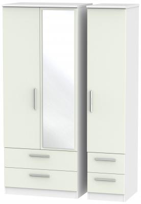 Knightsbridge 3 Door 4 Drawer Combi Wardrobe - Kaschmir Matt and White